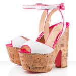 Christian-Louboutin white pink wedges
