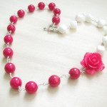 neon pink and white necklace