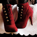 red lace up heels