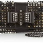 studded black bow chain purse