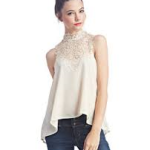 white crochet high neck chiffron