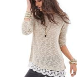 Lace-Trimmed Open-Knit Sweater