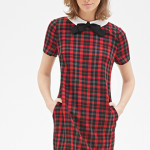 Contrast Collar Plaid Shift Dress Forever 21 Preppy Look