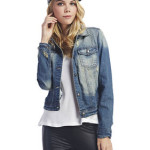 Grungy Look Vintage Wash Denim Jacket Wetseal