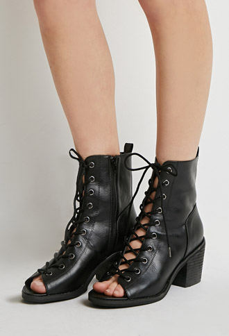 Boho Lace Up Peep Toe Booties Forever 21