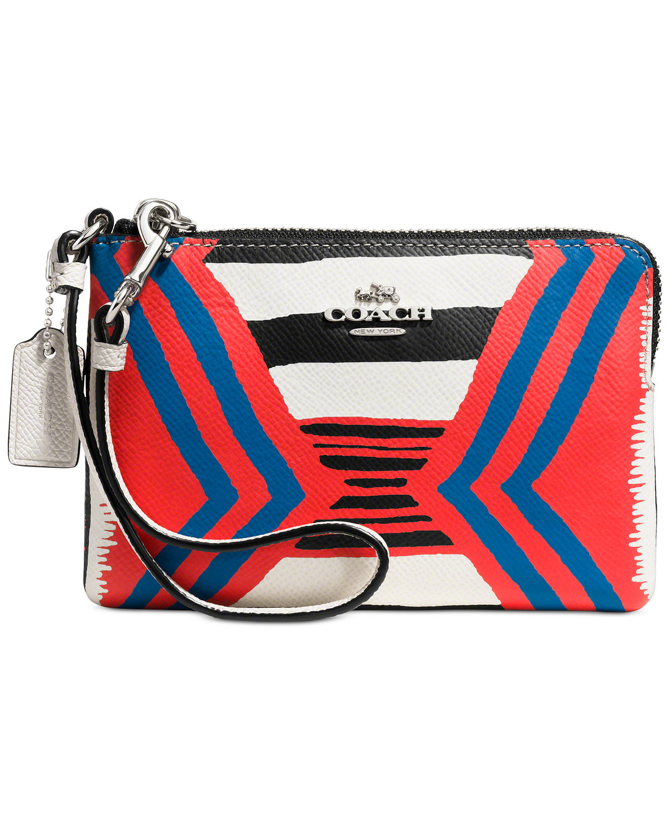 Dressy Look COACH CORNER ZIP WRISTLET IN PRINTED CROSSGRAIN LEATHER from Macys