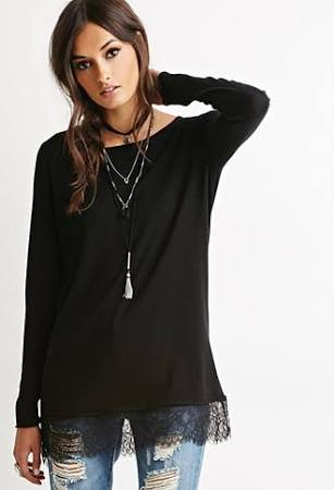 Casual Look Eyelash Lace-Trimmed Sweater Forever 21