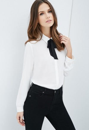Preppy Look Self-Tie Bow Blouse from Forever 21