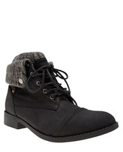 Casual Look Knit Cuff Faux Leather Combat Boots from Wet Seal