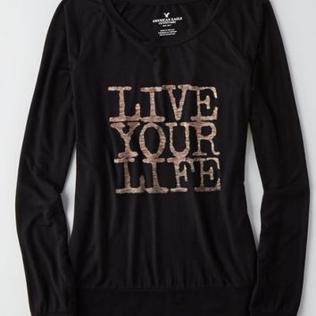 Casual Look Live Your Life Graphic Tee from American Eagle