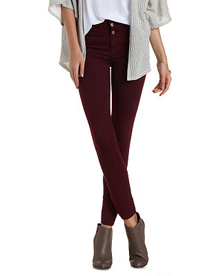 Casual Look Refuge Hi-Waist Super Skinny Colored Jeans from Charlotte Russe