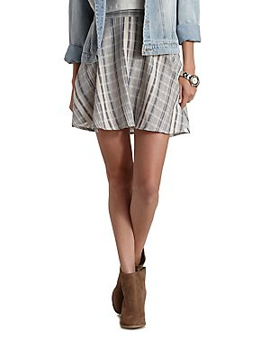 Girly Look Patterned Stripe Cotton Skater Skirt from Charlotte Russe