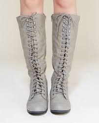 Girly Look Tall Lace-Up Combat Boots from Wet Seal