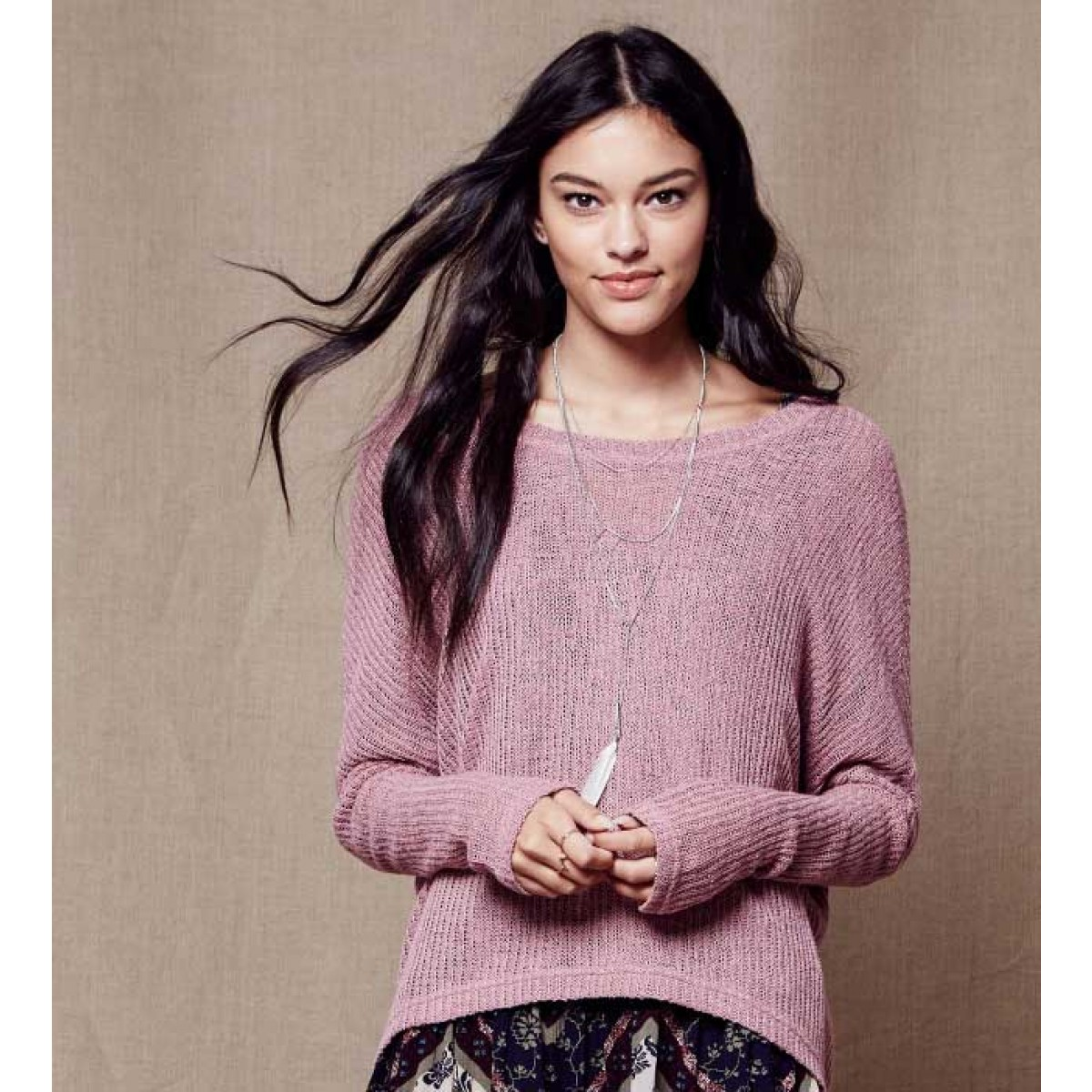 Girly Look Tokyo Darling Sheer Oversized Dolman Sweater from aeropostale