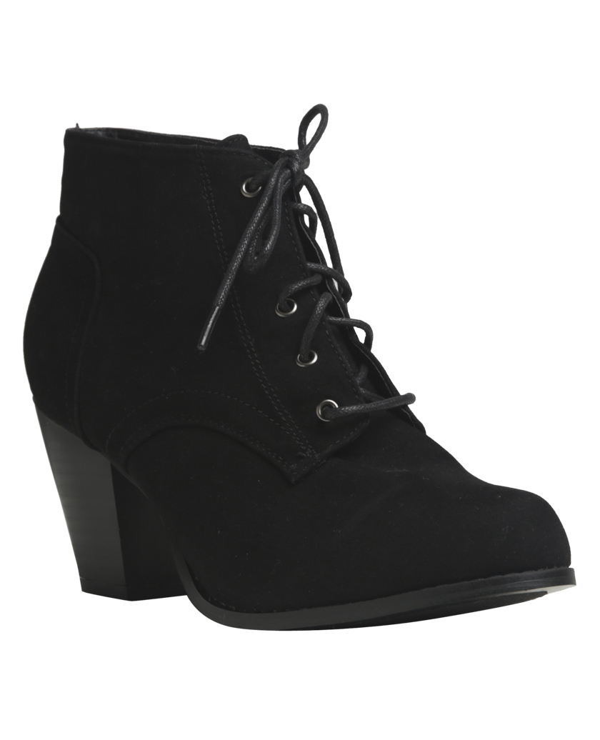 Mixed Bag Look Faux Suede Lace-Up Booties from Wet Seal