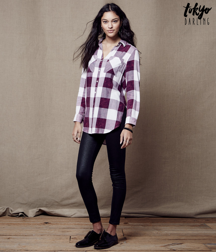 Mixed Bag Look Tokyo Darling Long Sleeve Checkered Woven Tunic from Aeropostale